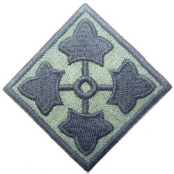 4th Infantry Division, patch, cut edge, subdued, twill